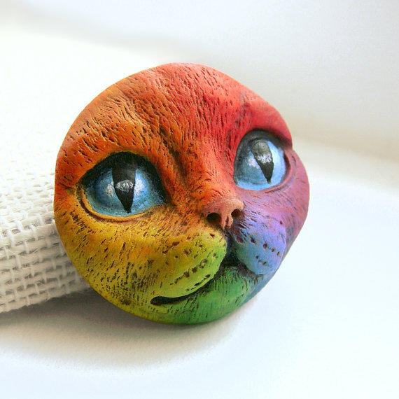 Rainbow Cat Art Doll Face Cab Kitty From Graphixoutpost On