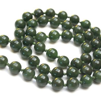 Jade Nephrite Bead  necklace -   hand knotted - 8 mm  round green gemstone - sterling