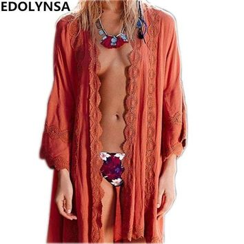 PEAPGC3 New Arrivals Beach Cover up Rayon Vintage Swimwear Ladies Tunics Kaftan Beach Outings Ethnic Pareo for Women Robe de Plage #Q145