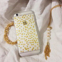 Gold Party Polka Dots Clear Silicone iPhone 6 Case