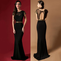 Elegant Long Evening Dress Formal Gowns Black Sheer Neck Sequins Evening Dresses Vestido De Festa Cap Sleeve Robe De Soiree