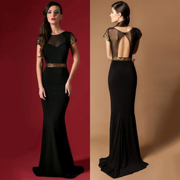 Elegant Long Evening Dress Formal Gown Black Sheer Neck Sequins Evening Dress