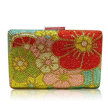 Full Flower Crystal Rhinestone Clutch For Wedding and Party