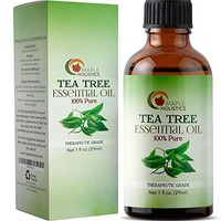 100% Pure Tea Tree Oil Natural Essential Oil with Antifungal Antibacterial Benefits For Face Skin Hair Nails Heal Acne Psoriasis Dandruff Piercings Cuts Bug Bites Multipurpose Surface Cleaner: Health & Personal Care