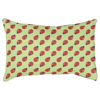 Red Ladybugs Pattern On Green Pet Bed