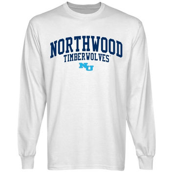 Northwood University of Michigan Timberwolves Team Arch Long Sleeve T-Shirt - White