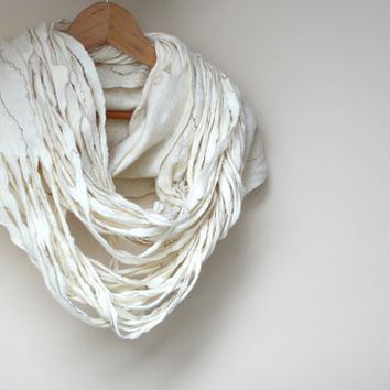 Women infinity white scarf - felted wool circle scarf - cobweb - made to order - Mothers day gift