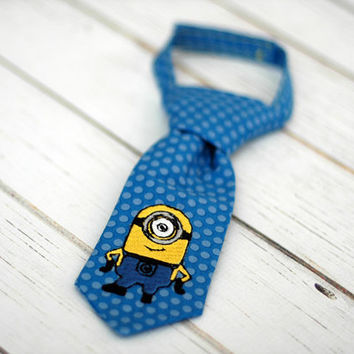 Little Guy Tie - Despicable Me Minion - Infant through 8 years - Pre-Tied with Adjustable Velcro Closure