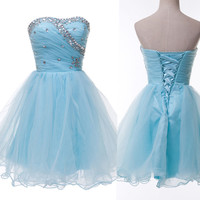Short Homecoming Ball Gown Beaded Summer Party Cocktail Bridesmaid Dresses Prom