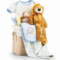 Jungle Adventure Baby Gift Set-Boy: Baby Gift Baskets - A plush Bearington Baby Collection lion, monkey rattle and a matching Onesuit ensemble presented in a keepsake drawstring tote.