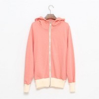 Cotton Pink long sleeve full-zip lapel cotton hooded hoodie   style zz909021 in  Indressme