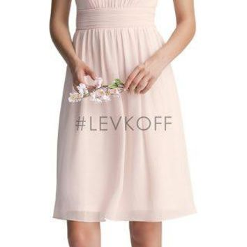 Bill Levkoff #LEVKOFF 7000 Knee Length Halter Bridesmaid Dress