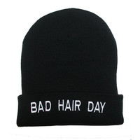 Bad Hair Day Knit Beanie Black Embroidered