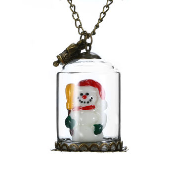 Luminous Real Christmas Tree Snowman Santa Claus Seat Glass Bottle Necklace | eBay