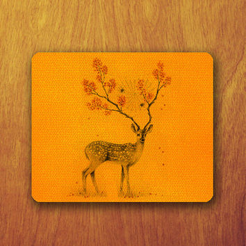 Drawing Deer Orange Tiles Pattern Drawing Mouse PAD Animal With Flower Mousepad Accessory For Desk Office Personalized Office Pad Mat