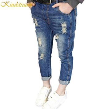 2017 NEW spring & autumn kids hole jeans for girls, Fashion trench children trousers, Brand high quality kids pants, HC129