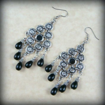 Statement Earrings - Large Chandelier Earrings - Antiqued Silver Chandelier Components with Black Pearls - Diamond Chandelier Earrings