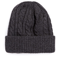 CHARCOAL MIXED YARN CABLE BEANIE - Beanies - Shoes and Accessories - TOPMAN USA