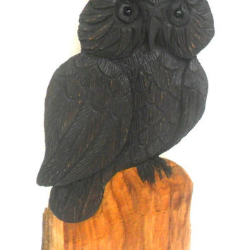 "Natural Teak Wood Handmade Carving Owl Bird Art Home Handicrafts Wall Hanging Decor Plaque Hand Carved 10.75""x5"""