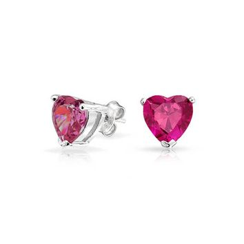 Pink Tiny CZ Heart Shaped Stud Earrings Ruby 925 Sterling Silver