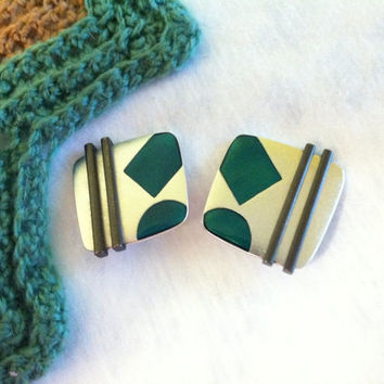 Green and Silver Abstract Earrings Vintage Monet Art Deco Jewelry 1980's Enameled Geometric Clip On Earrings Artsy Christmas Gift