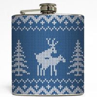 Merry Christmas Ya Filthy Animal - Blue Humping Reindeer Flask