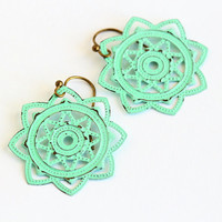 Mint Green Filigree Earrings, Metal Flower Earrings, Mint Green, Bohemian Earrings, Morrocan, Shabby Chic