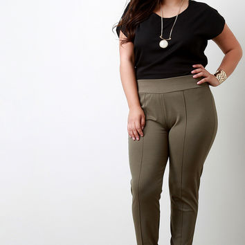 Wide Elastic Band High Waisted Pants