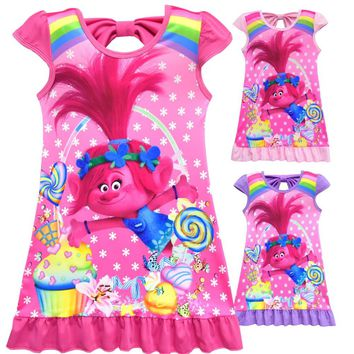 Trolls Princess Dresses Girls Dresses Summer 2018 Floral Little Mermaid Children Princess Dress For Birthday Party Wedding Dress