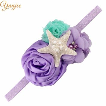 Birthday 2018 Floral Summer/Spring Beach Mermaid Real Starfish Elastic Headbands DIY Headwrap For Kids Bandeau Bandana Headwear