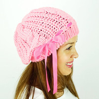 Pink Slouchy Beanie Knitted Slouchy Hat Oversized Hat Knit Beret Woman Fashion Accessory Satin Ribbon Chunky Hat Knitted Hat Woman Knit Hat