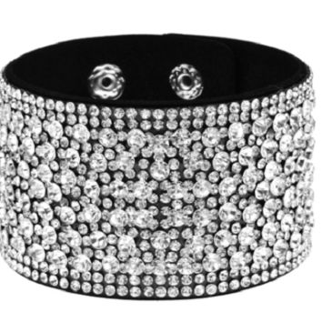 "7"" - 7.50"" crystal faux leather snap bracelet 1.50"""