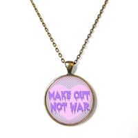 Pastel Goth make out not war Necklace - Funny Antisocial Pastel Goth Soft Grunge Jewelry