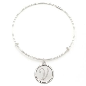Alex and Ani Precious Initial V Charm Bangle - Argentium Silver