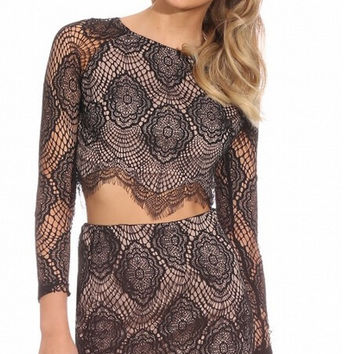 Black Floral Lace Cropped Top and Mini Skirt Set