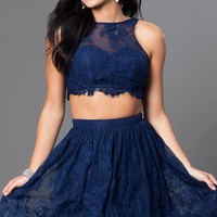 Two Piece Navy Scalloped Lace Homecoming Dress