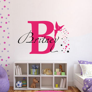 Wall Decals Vinyl Sticker Decal Home Decor Art Murals Monogram Initial Personalized Custom Name Baby Tinkerbell  Girl Nursery Bedroom MM19