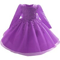 Girl Dress Fall Dresses For Kids Girls Long Sleeve Lace Formal Dress Children Clothes Baby Gowns