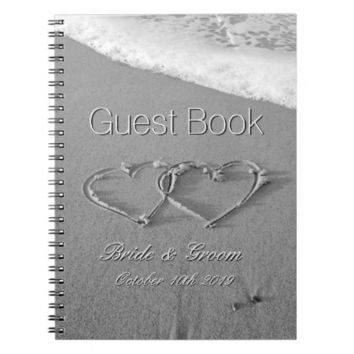 Romantic hearts in sand beach wedding guest book spiral notebooks