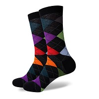 Argyle Socks - Black, Green, Purple, Red, Orange - Men's Mid Calf Short