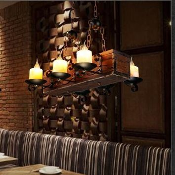 IWHD Wood Hanglamp 8 Heads LED Pendant Lamp Lighting Fixtures Loft Style Industrial Hanging Light Bar cafe Marble Retro Lights