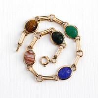 Vintage Scarab Bracelet - 14k Rosy Yellow Gold Filled Retro Carved Colorful Beetle Bug - Retro Dainty Egyptian Banded Agate Gems Jewelry