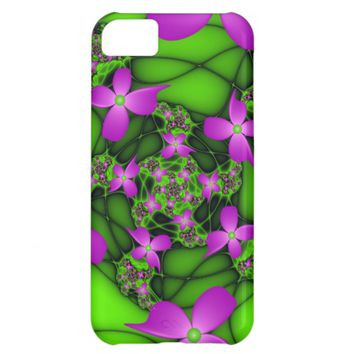 Modern Abstract Neon Pink Green Fractal Flowers iPhone 5C Case