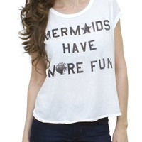 Mermaids Have More Fun Cosmo Cropped Tee - Women's Tops - Tanks - Junk Food Clothing