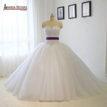 vestidos de casamento Simple Elegant Sleeveless Ribbon Belt Sash Fluffy Ball Gown Wedding Dress