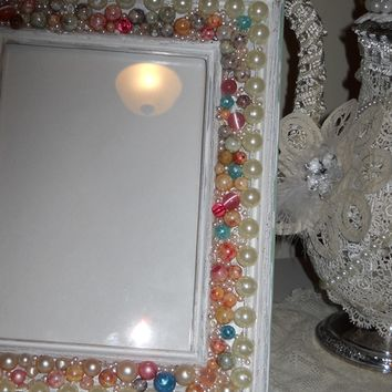 Shabby Distressed Picture frame chic handmade vintage Frame and pearls