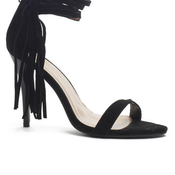High Strappy Heel With Side Tassel - Black