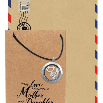Eurika Locket Necklace with Mother Daughter Birds and Tree Charms and Greeting Card