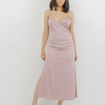 THE PINK SLIP SATIN SLIT DRESS