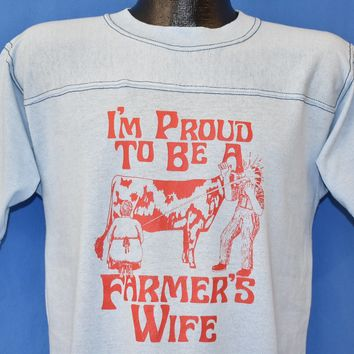 80s Proud to be a Farmer's Wife Funny t-shirt Medium